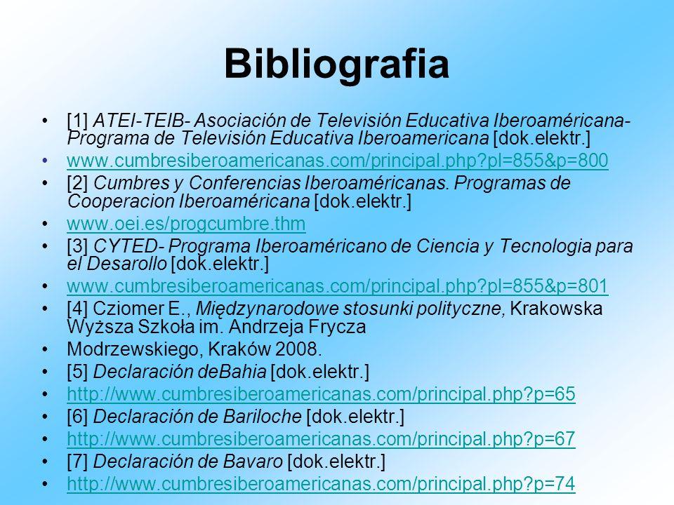 Bibliografia[1] ATEI-TEIB- Asociación de Televisión Educativa Iberoaméricana- Programa de Televisión Educativa Iberoamericana [dok.elektr.]